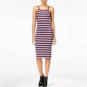 Kensie Burgundy Striped Midi Bodycon Dress Size M.